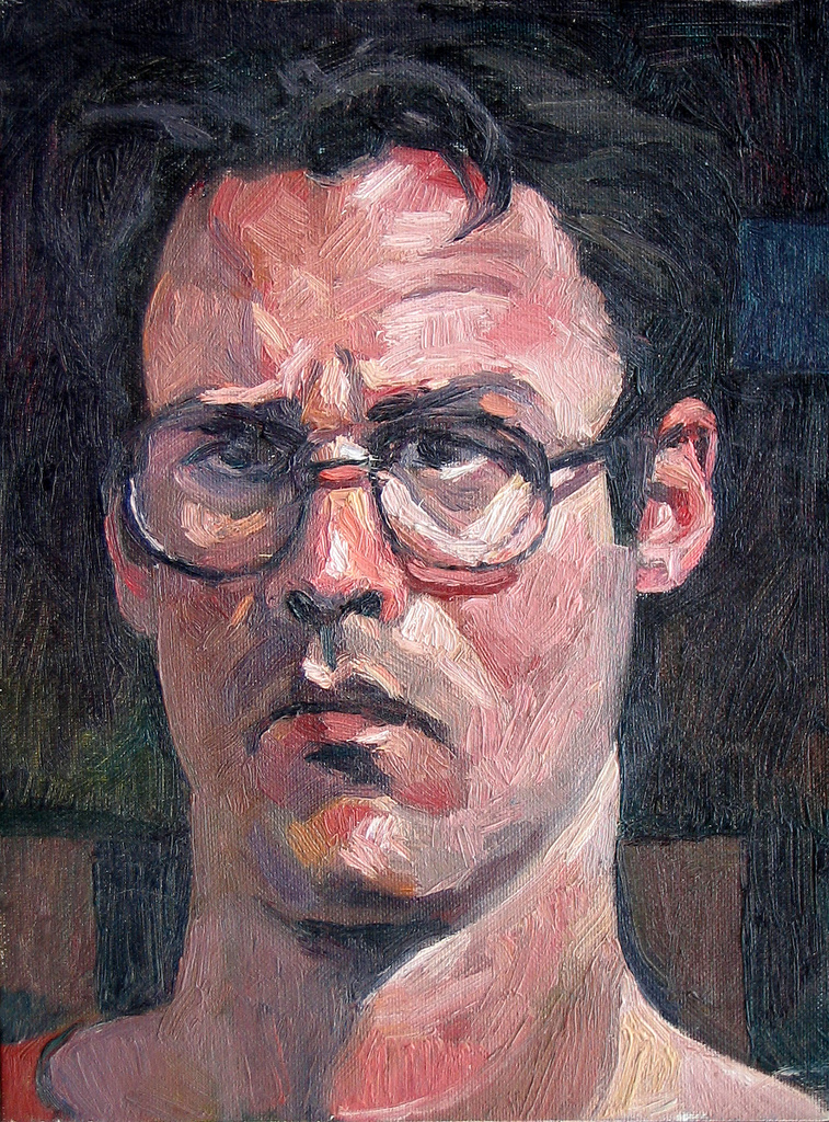 Painting of a white teenager with medium length black wavy hair and round black rimmed glasses.