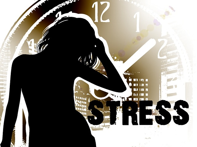 cartoon teen with long hair, a clock as a background, and the word STRESS next to the teenager